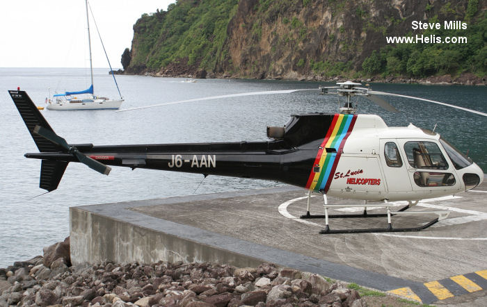 Helicopter Aerospatiale AS350B Ecureuil Serial 2516 Register N330MG J6-AAN N609LH JA6103 used by St Lucia helicopters Lloyd Helicopters US. Built 1991. Aircraft history and location