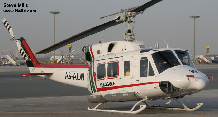 Helicopter Bell 212 Serial 35065 Register A6-ALW used by Aerogulf  (Aerogulf). Aircraft history and location