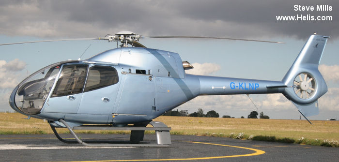 Helicopter Eurocopter EC120B Serial 1492 Register EI-FGL G-KLNP PH-ECM used by Saxonair. Built 2007. Aircraft history