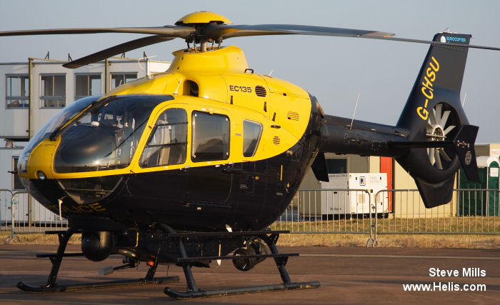 Helicopter Eurocopter EC135T1 Serial 0079 Register G-CHSU used by Airbus Helicopters UK Eurocopter UK UK Police Forces McAlpine Helicopters. Built 1998. Aircraft history and location