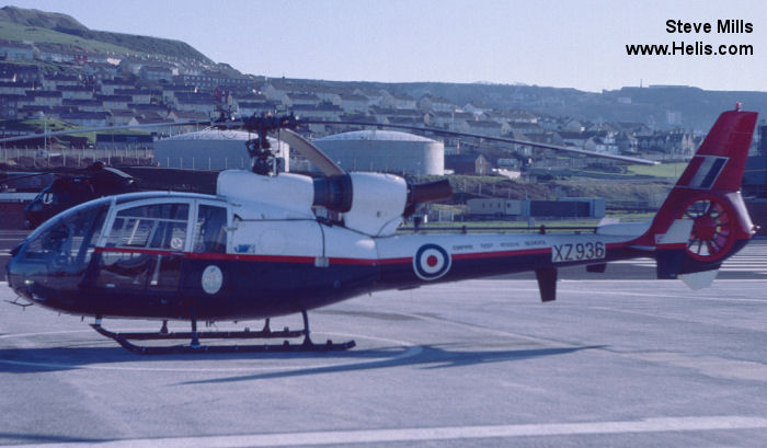 Helicopter Aerospatiale SA341D Gazelle HT.3 Serial 1743 Register XZ936 used by QinetiQ Ministry of Defence (MoD) Royal Air Force. Built 1978. Aircraft history and location