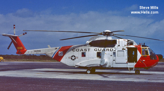 Helicopter Sikorsky HH-3F Pelican Serial 61-673 Register 1496 used by US Coast Guard USCG. Aircraft history and location