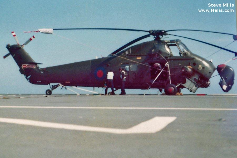 Helicopter Westland Wessex HU.5 Serial wa307 Register XT485 used by Royal Marines RM ,Fleet Air Arm RN (Royal Navy). Built 1966. Aircraft history and location