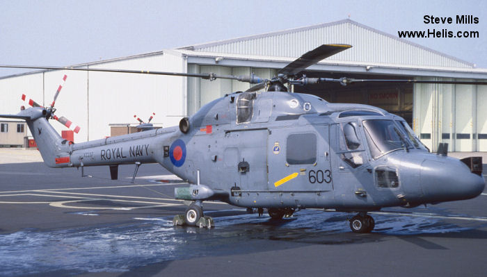 Helicopter Westland Lynx  HAS2 Serial 019 Register XZ237 used by Fleet Air Arm (Royal Navy). Built 1977. Aircraft history and location