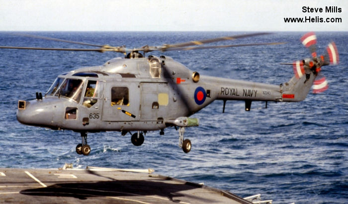 Helicopter Westland Lynx  HAS2 Serial 060 Register XZ243 used by Fleet Air Arm RN (Royal Navy). Built 1978. Aircraft history and location