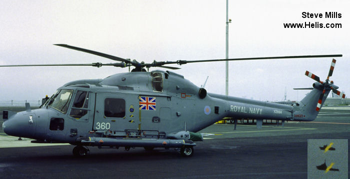 Helicopter Westland Lynx  HAS2 Serial 128 Register XZ694 used by Fleet Air Arm (Royal Navy). Built 1979. Aircraft history and location