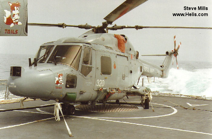 Helicopter Westland Lynx HAS3S Serial 339 Register ZF562 used by Fleet Air Arm (Royal Navy). Built 1988. Aircraft history