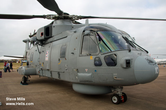 Helicopter AgustaWestland Merlin HM.1 Serial 50168 Register ZH861 used by Fleet Air Arm RN (Royal Navy). Built 2002. Aircraft history and location