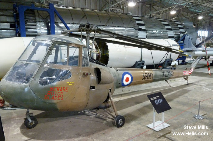 Helicopter Saunders Roe Skeeter 7 Serial S2/5074 Register XL762 used by Army Air Corps AAC (British Army). Built 1958. Aircraft history and location