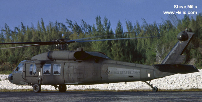 Helicopter Sikorsky UH-60A Black Hawk Serial 70-1316 Register 88-26114 used by US Air Force USAF ,US Army Aviation Army. Aircraft history and location