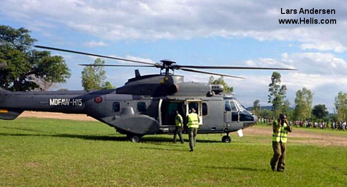 Helicopter Aerospatiale AS332L1 Super Puma Serial 2379 Register MAAW-H15 used by Malawi Army Air Wing. Aircraft history and location