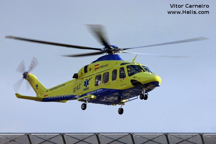 Helicopter AgustaWestland AW139 Serial 31107 Register EC-KLC used by INAER INAER Portugal INAER Italia Elilario Italia Salvamento Maritimo (Maritime Safety Agency) Helisureste. Built 2007. Aircraft history and location