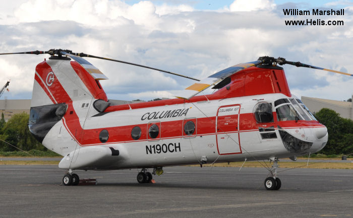 Helicopter Boeing-Vertol CH-46A Serial 2002 Register C-GHFY P2-CHC N190CH 150266 used by Helifor ,CHI Papua New Guinea ,Columbia Helicopters ColHeli ,US Marine Corps USMC. Built 1962. Aircraft history and location