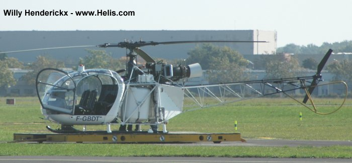 Helicopter Aerospatiale SE3130  Alouette II Serial 1744 Register F-GBDT. Aircraft history and location