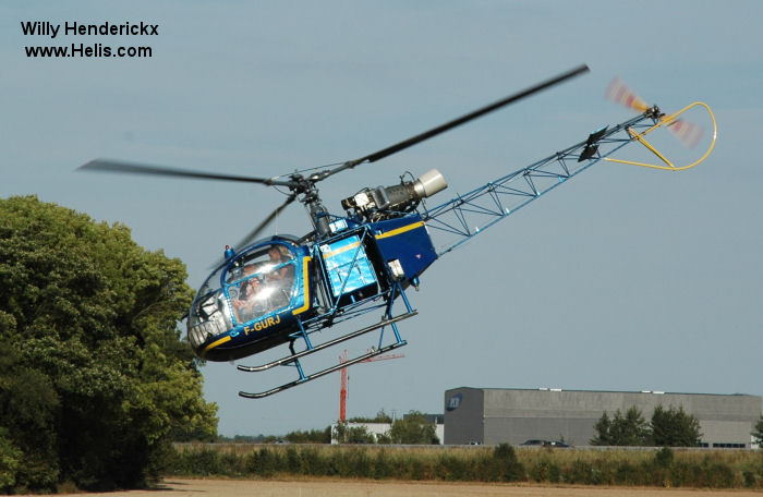 Helicopter Aerospatiale SE3130  Alouette II Serial 1741 Register 341 F-GURJ used by Aéronautique Navale (French Navy). Aircraft history
