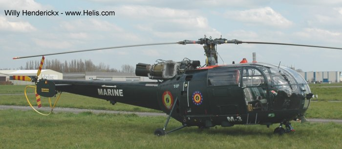 Helicopter Aerospatiale SA316B Alouette III Serial 1817 Register M-3 used by United Nations Marine (Belgian Navy). Built 1971. Aircraft history and location