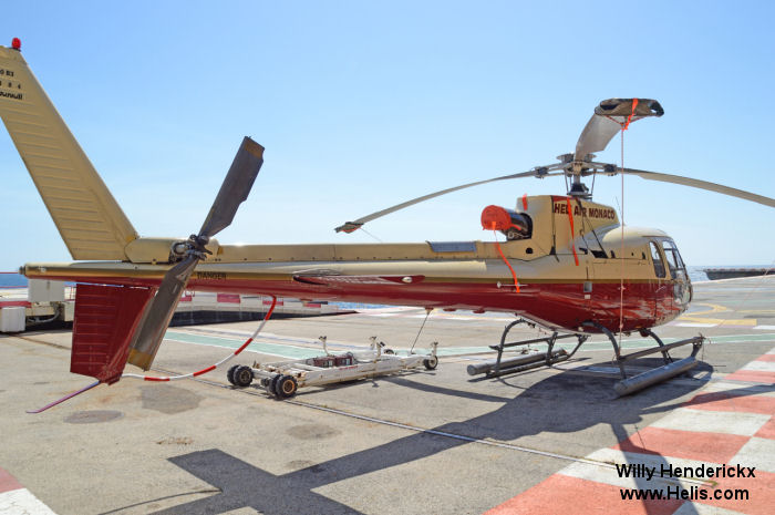 Helicopter Eurocopter AS350B3 Ecureuil Serial 4484 Register 3A-MWI F-HBRR used by Heli Air Monaco. Aircraft history and location