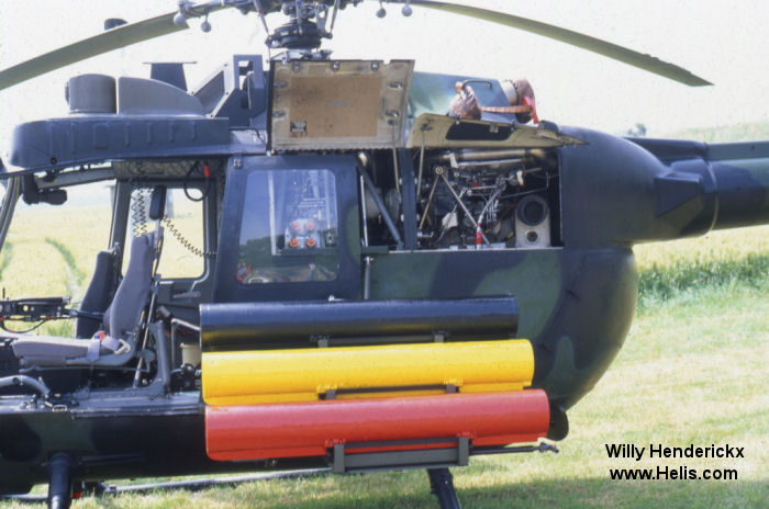 Helicopter MBB Bo105M Serial 5074 Register 80+74 used by Heeresflieger (German Army Aviation). Aircraft history and location