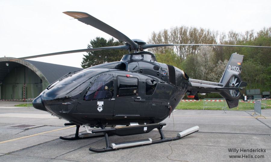 Helicopter Airbus Helicopters EC135P2+ Serial 1200 Register D-HDDL D-HECR used by Marineflieger (German Navy ) DL Helicopter Technik Airbus Helicopters Deutschland GmbH (Airbus Helicopters Germany). Built 2015. Aircraft history and location