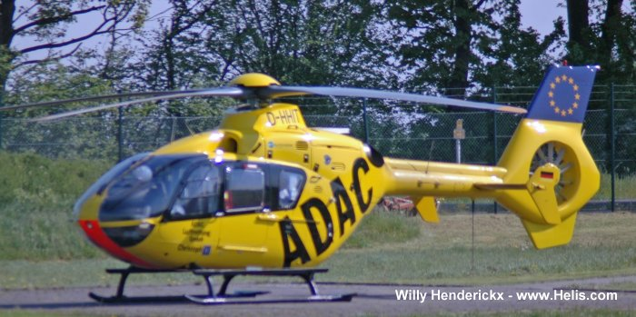 Helicopter Eurocopter EC135P2 Serial 0380 Register D-HHIT used by ADAC Luftrettung (ADAC Air Rescue). Aircraft history and location