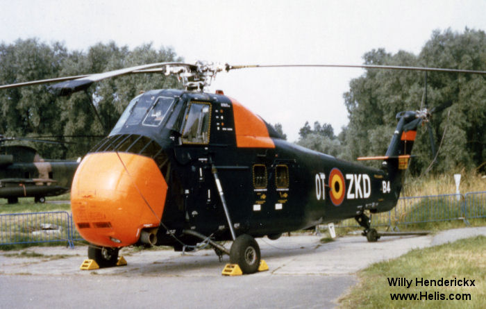 Helicopter Sud Aviation HSS-1 Seabat Serial SA.145 Register B4 used by Force Aérienne Belge (Belgian Air Force). Aircraft history