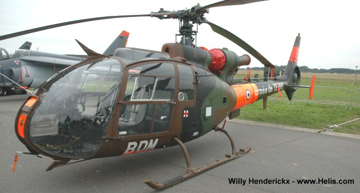 Helicopter Aerospatiale SA341F Gazelle Serial 1175 Register ZU-RIH N341FG 1175 used by Aviation Légère de l'Armée de Terre (French Army Light Aviation). Aircraft history and location
