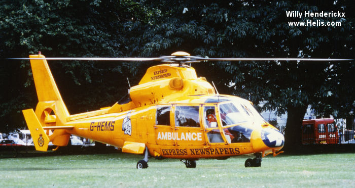 Helicopter Aerospatiale SA365N Dauphin 2 Serial 6009 Register G-PDGK G-HEMS 8P-BHD N365AM used by PDG Helicopters ,UK Air Ambulances LAA (London Air Ambulance) ,GNAAS (Great North Air Ambulance Service). Built 1982. Aircraft history and location