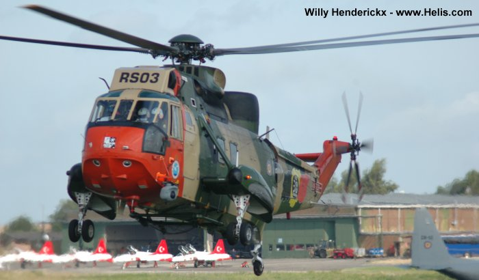 Helicopter Westland Sea King Mk.48 Serial wa 833 Register RS03 used by Force Aérienne Belge (Belgian Air Force). Built 1976. Aircraft history and location