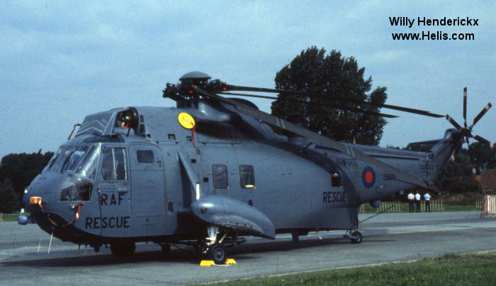 Helicopter Westland Sea King HAR.3 Serial wa 886 Register ZA105 used by Royal Air Force RAF. Built 1980. Aircraft history and location