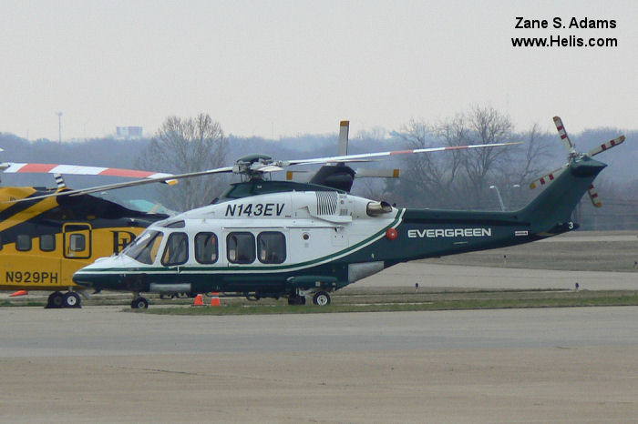 Helicopter AgustaWestland AW139 Serial 41273 Register N139PR N143EV used by Evergreen Helicopters AgustaWestland Philadelphia (AgustaWestland USA). Built 2011. Aircraft history and location