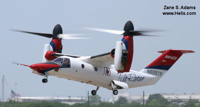Helicopter AgustaWestland AW609 Serial 60001 Register N609TR used by AgustaWestland Philadelphia (AgustaWestland USA) AgustaWestland Italy Bell Helicopter. Built 2003. Aircraft history and location