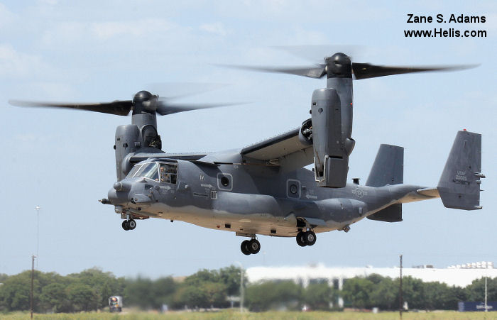 Helicopter Bell CV-22B Osprey Serial D1006 Register 02-0025 used by US Air Force USAF. Aircraft history and location