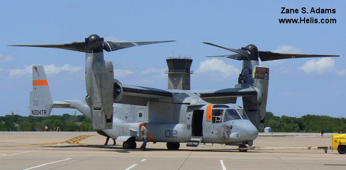 Helicopter Bell MV-22B Osprey Serial D0043 Register N204TR 165942 used by Bell Helicopter ,US Marine Corps USMC. Aircraft history and location